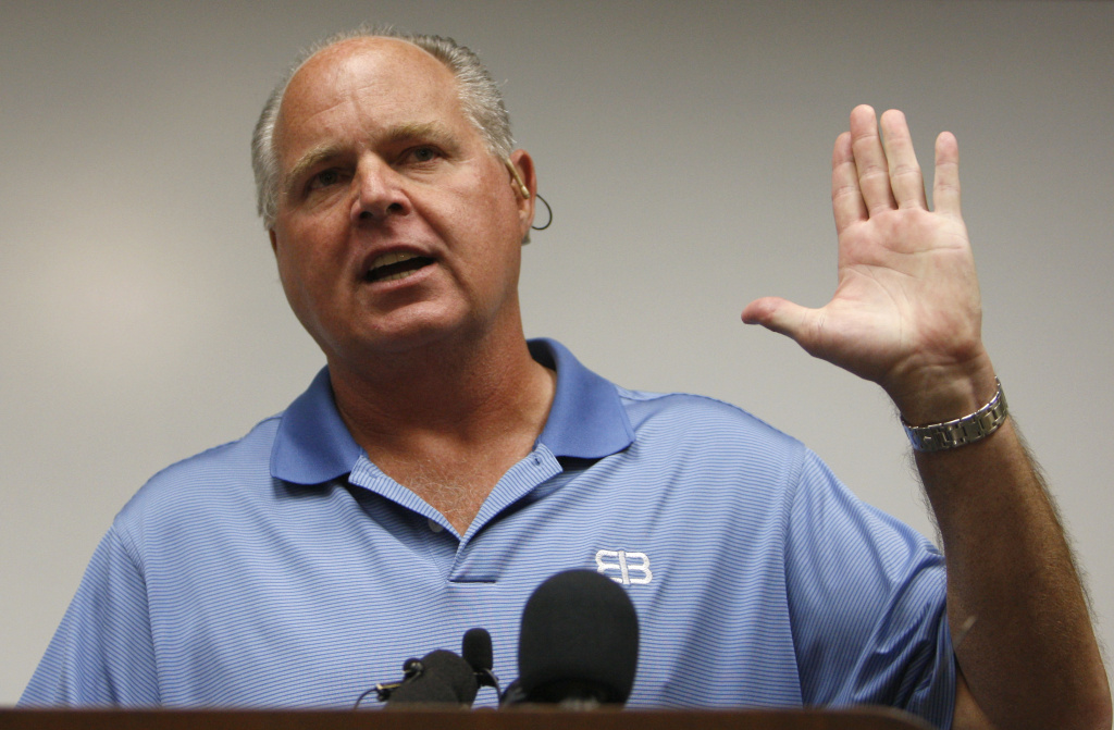 Conservative talk show host Rush Limbaugh speaks during a news conference at The Queen's Medical Center in Honolulu, Friday, Jan. 1, 2010. (AP Photo/Chris Carlson)