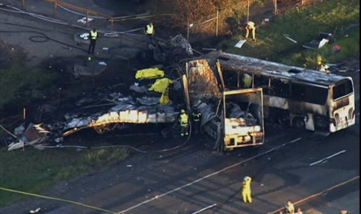 A screencap from NBC-LA of wreckage from a bus crash on Interstate 5 in Northern California that killed 9 on April 10, 2014.