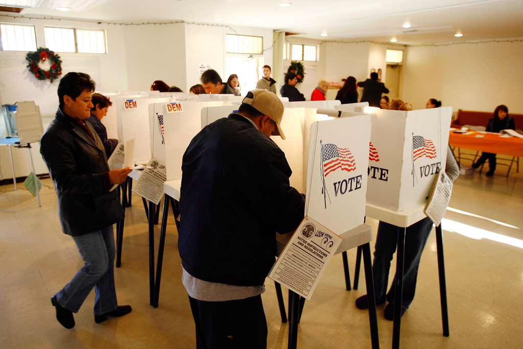 File: Voters go to the polls for Super Tuesday primaries in the predominantly Latino neighborhood of Boyle Heights on Feb. 5, 2008.