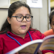 "Adelaide Price Elementary School 6th-graders Arlene Garibay, left, and Viviana Garcia take part in a rehearsal for ""Aladdin"" on Wednesday, Nov. 12, 2014."