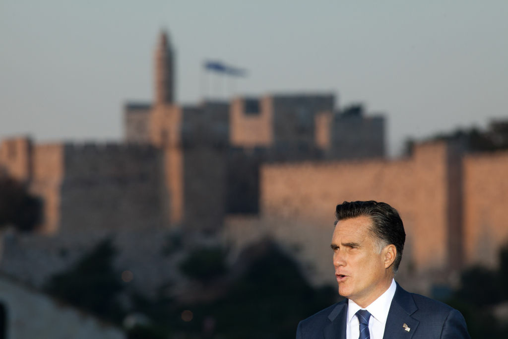 JERUSALEM, ISRAEL - JULY 29: (ISRAEL OUT) U.S. Republican presidential candidate, former Massachusetts Gov. Mitt Romney delivers a speech outside the Old City on July 29, 2012 in Jerusalem, Israel. Romney stated that he backs Israel's right to defend itself against the threat of a nuclear Iran. He is in Israel as part of a three-nation foreign diplomatic tour which also includes visits to Poland and Great Britain. (Photo by Uriel Sinai/Getty Images)