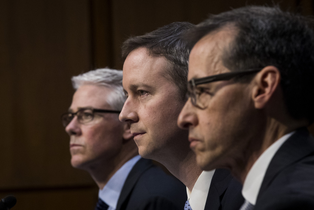 (L to R) Colin Stretch, general counsel at Facebook, Sean Edgett, acting general counsel at Twitter, and Richard Salgado, director of law enforcement and information security at Google, testify during a Senate Judiciary Subcommittee on Crime and Terrorism hearing titled 'Extremist Content and Russian Disinformation Online' on Capitol Hill, October 31, 2017 in Washington, DC. The committee questioned the tech company representatives about attempts by Russian operatives to spread disinformation and purchase political ads on their platforms, and what efforts the companies plan to use to prevent similar incidents in future elections.