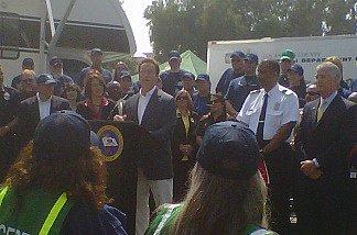 Gov. Arnold Schwarzenegger at a press conference announcing California's Disaster Corps, a disaster-training program, June 25, 2010.
