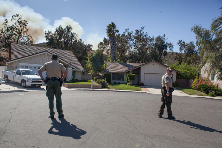 Smokejumpers make their way toward a fire west of Thousand Oaks on May 2, 2013.