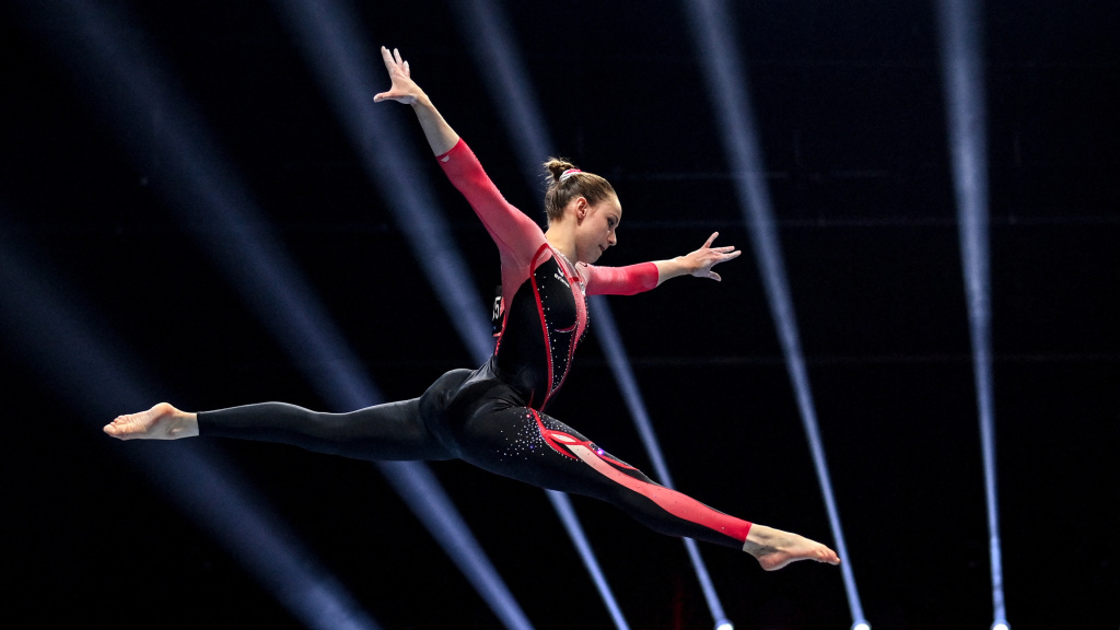 Germany's Sarah Voss competes in the women's beam qualifications during European Artistic Gymnastics Championships in Basel, Switzerland, on April 21. She was one of three German female gymnasts at the European championships who grabbed the headlines for wearing unitards rather than leotards.