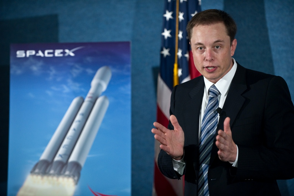 SpaceX CEO Elon Musk unveils the Falcon Heavy rocket at the National Press Club in Washington D.C. on April 5, 2011.