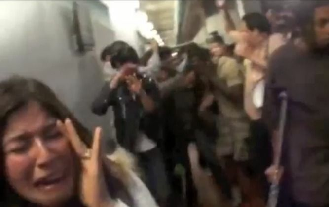 Santa Monica College students react to being pepper-sprayed.
