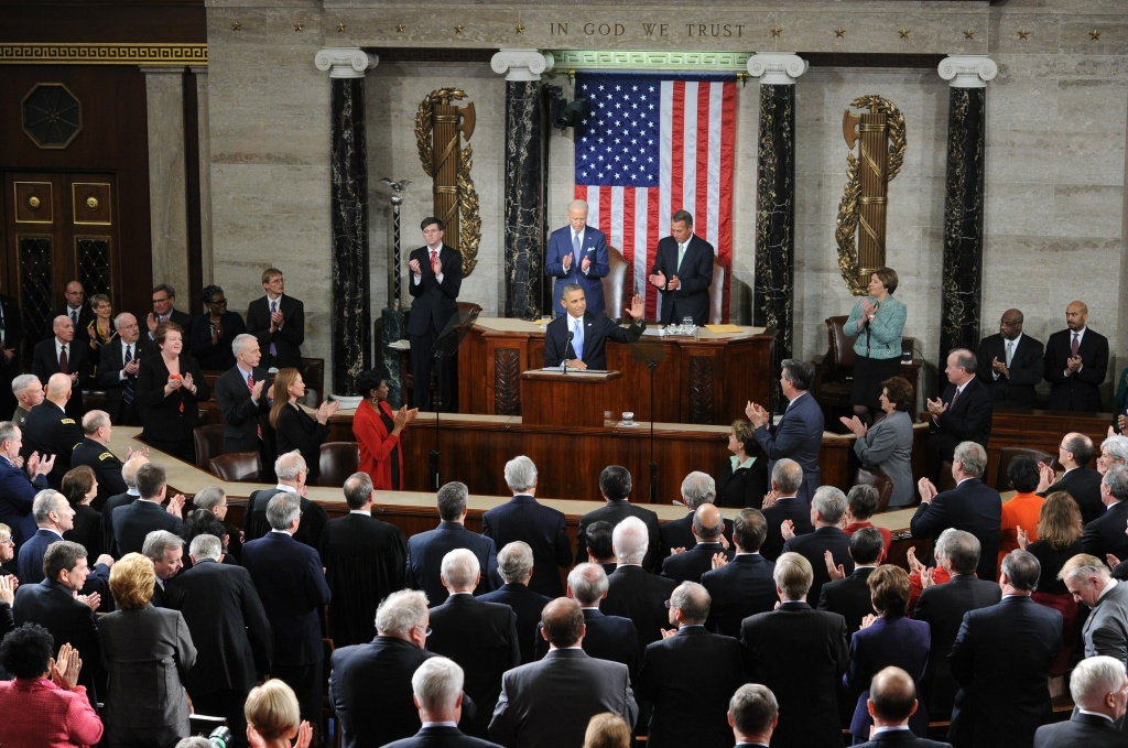 President Barack Obama receives a standing ovation before delivering his State of the Union address before a joint session of Congress on Jan. 28, 2014 at the U.S. Capitol in Washington, D.C.