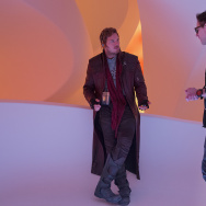"Chris Pratt (left) and director James Gunn on the set of Marvel's ""Guardians Of The Galaxy Vol. 2."""