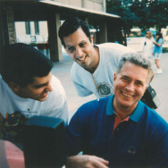 Vahan, Ara, and Khechig Manoogian with Huell Howser, c1990.