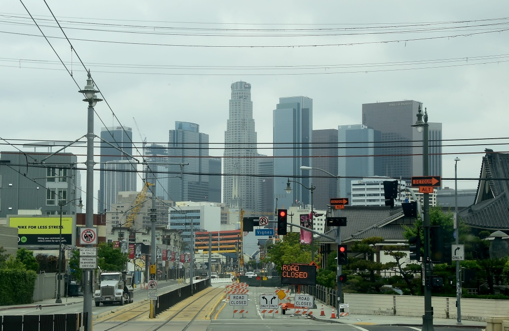 The downtown skyline is seen in Los Angeles, California as seen on May 17, 2016.