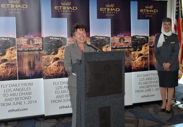 Gina Marie Lindsey speaks at the launch of Etihad Airways' daily service from Los Angeles (LAX) to Abu Dhabi (AUH) at Los Angeles International Airport.