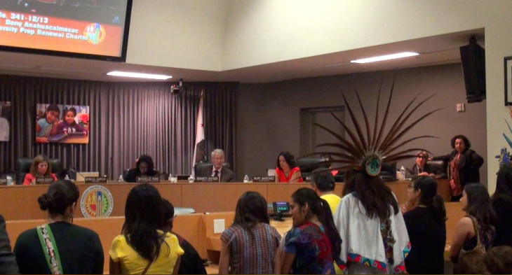 Parents ask L.A. Unified board to overrule staff recommendation and keep indigenous charter high school open.