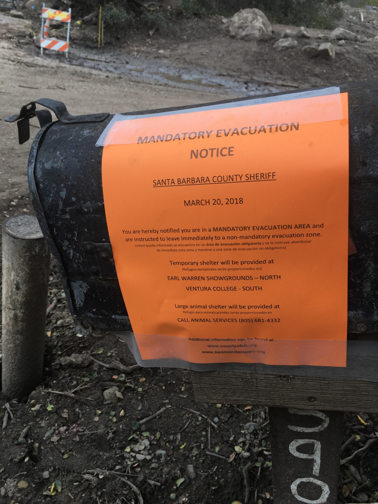 The evacuation notices on everyone's mailboxes in the mandatory zones in Santa Barbara County, as seen on Tuesday, March 20, 2018. Taken on Toro Canyon Road in Montecito.
