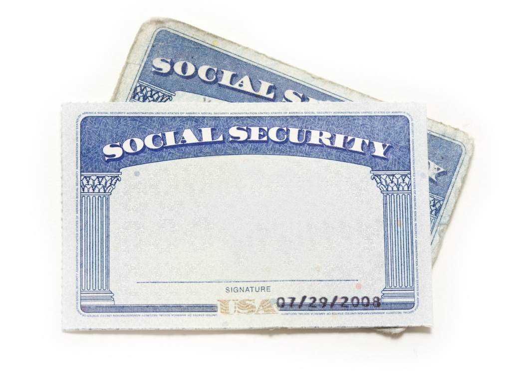 Standard issue Social Security Cards before identifying details have been added