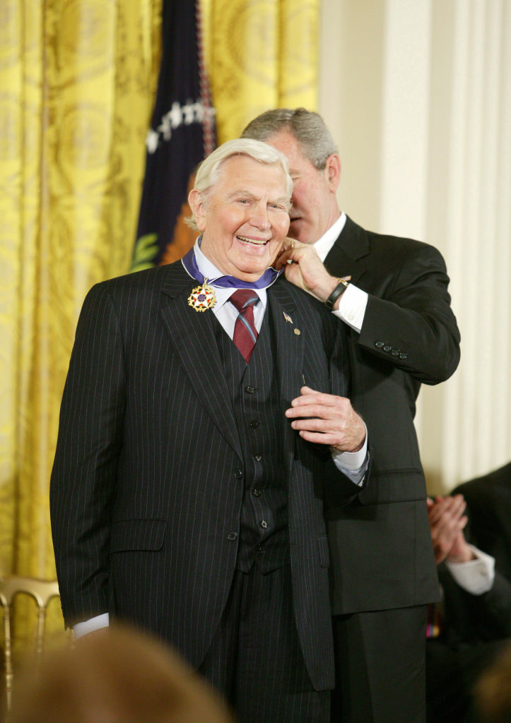 Andy Samuel Griffith receives the Presidential Medal of Freedom from then-President George W. Bush at the White House in Washington D.C.