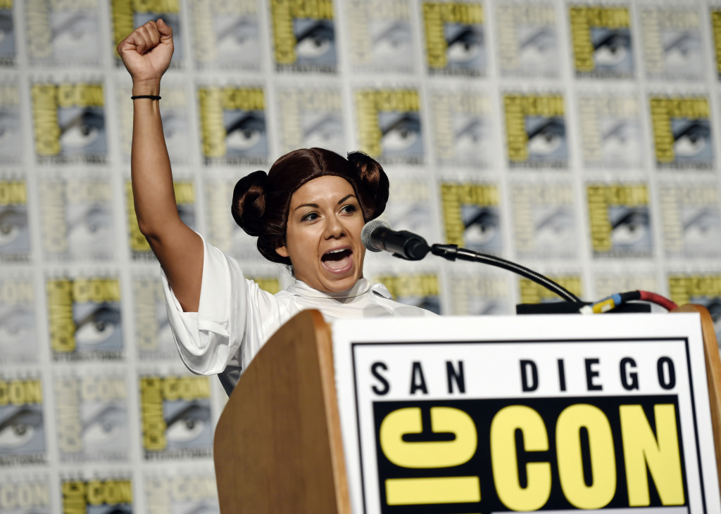 Guest speaker Diana Font of Orange, Calif. addresses the audience during the Princess Leia Star Wars Fan Club Tribute Presentation during the 2017 Comic-Con International on Sunday, July 23, 2017, in San Diego, Calif.