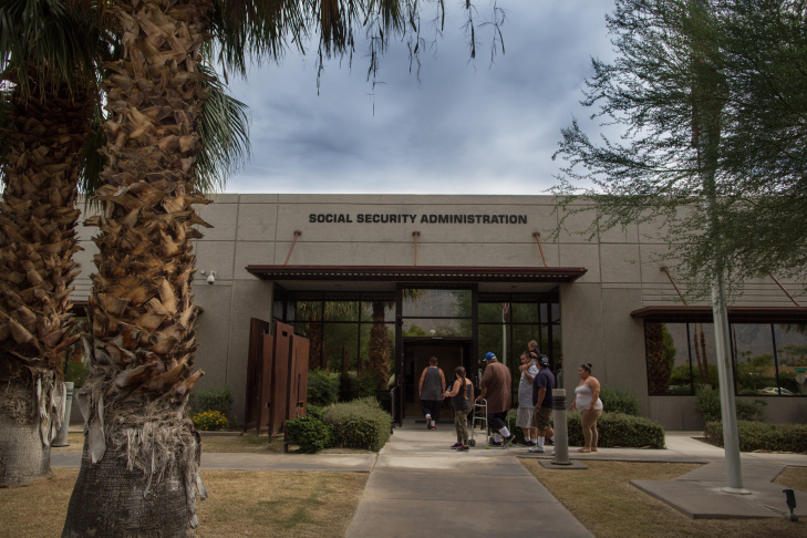 The Social Security Administration office in Palm Springs, Calif., remained open for business.