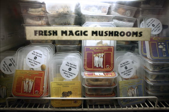 Magic mushrooms are displayed in a refrigerated case at Innerspace, a smart shop in Amsterdam, The Netherlands, on Monday, Oct. 8, 2007.