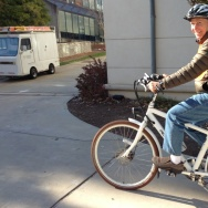 Joel Bowman, 66, rides his e-bike six miles daily to his job at Emory University in Atlanta.