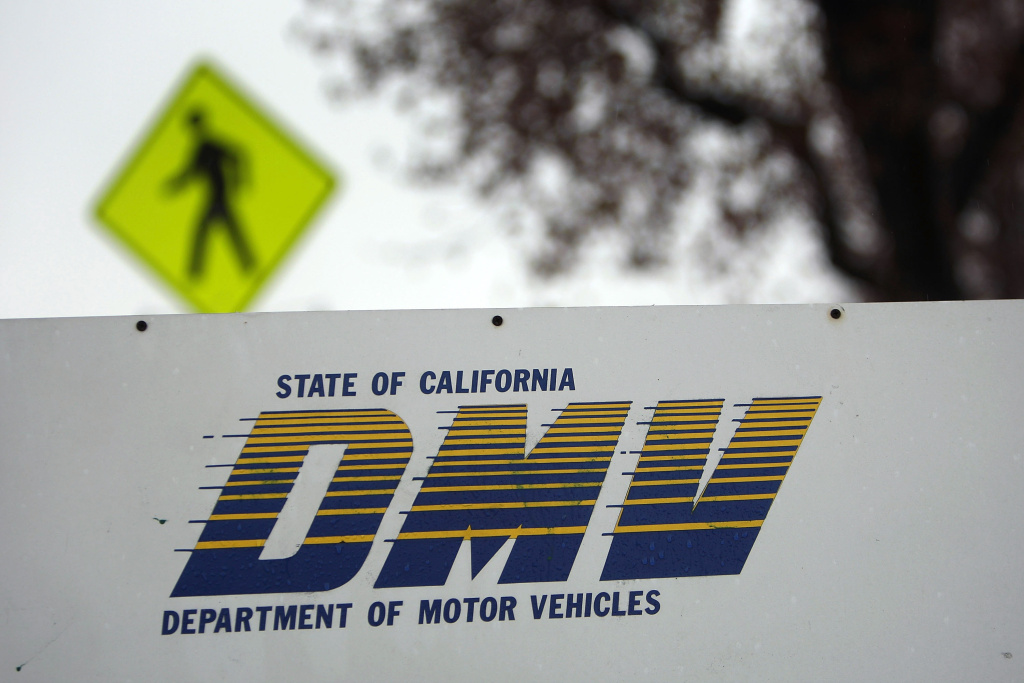 Signage is seen at the State of California Department of Motor Vehicles (DMV) February 6, 2009 in Pasadena, California.