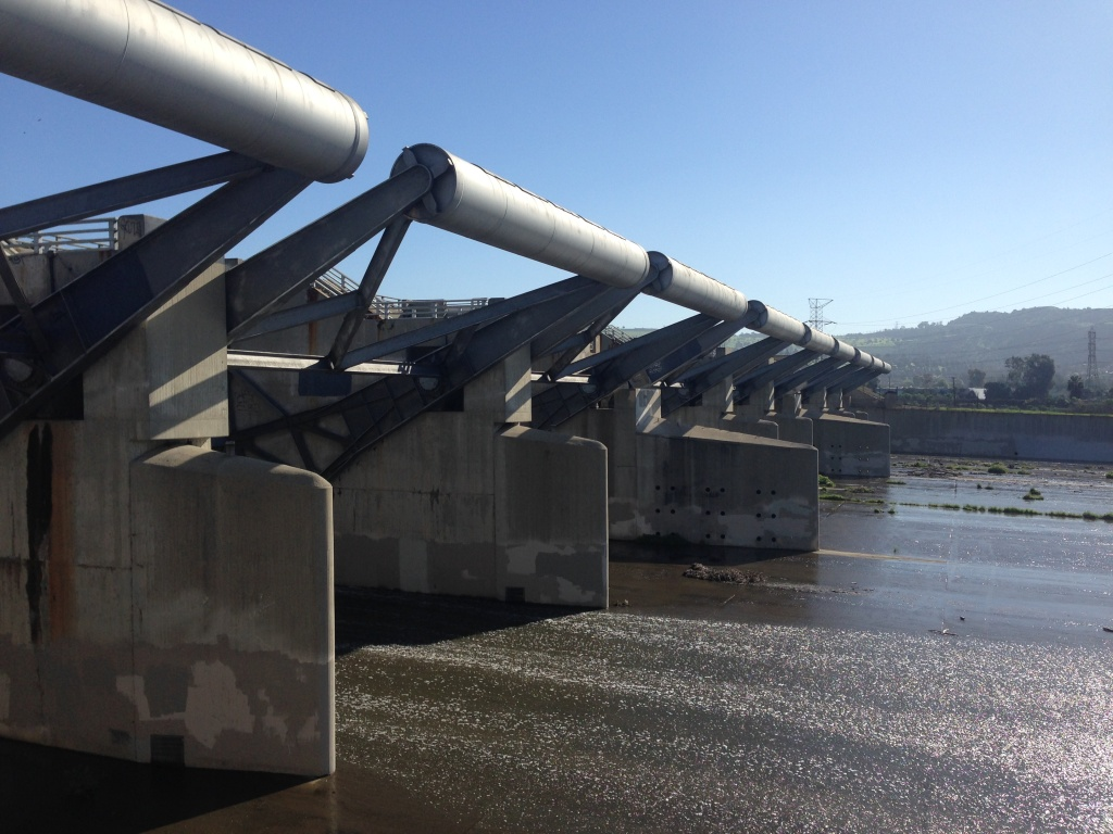 The Army Corps of Engineers says Whittier Narrows Dam is among the least safe in its system of dams. If the spillway gates, shown in February 2016, open prematurely in a big storm, that could contribute to downstream flooding. Erosion or overtopping of the earthen dam also posed failure and flood risks.