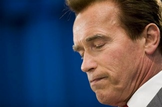 Former California Governor Arnold Schwarzenegger at a press conference on July 24, 2009 in Sacramento, California.