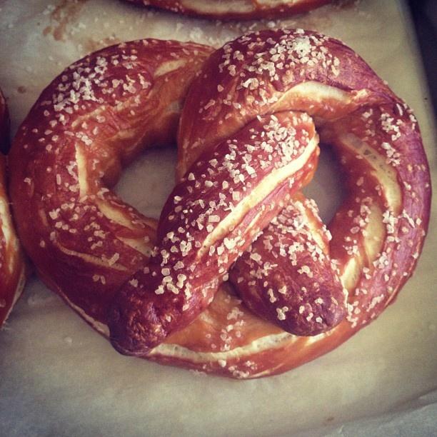 A homemade laugenbrezeln. An authentic German pretzel made with lye.