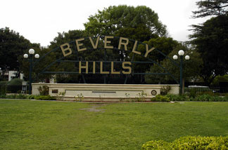 Beverly Hills Sign at Beverly Gardens Park at N Santa Monica Blvd, between N Beverly Dr and N Canon Dr.