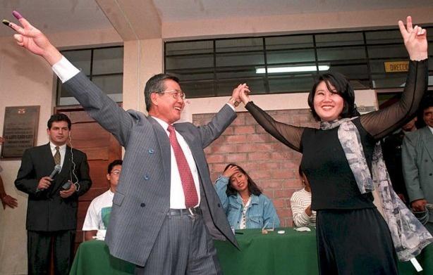 Alberto Fujimori (L) and his then 20-year-old daughter Keiko in 1995.