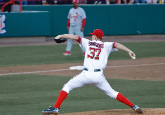 Stephen Strasburg pitches during a March 2010 preseason game against the Atlanta Braves.