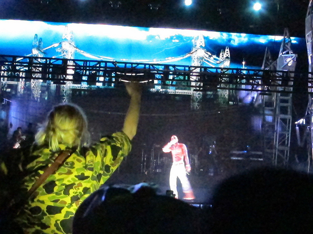 Photograph of virtual Tupac performing at the Coachella Valley Music and Arts Festival, April 15, 2012.