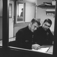 "Martin Milner (L) and Kent McCord film a scene of the NBC series ""Adam-12."""