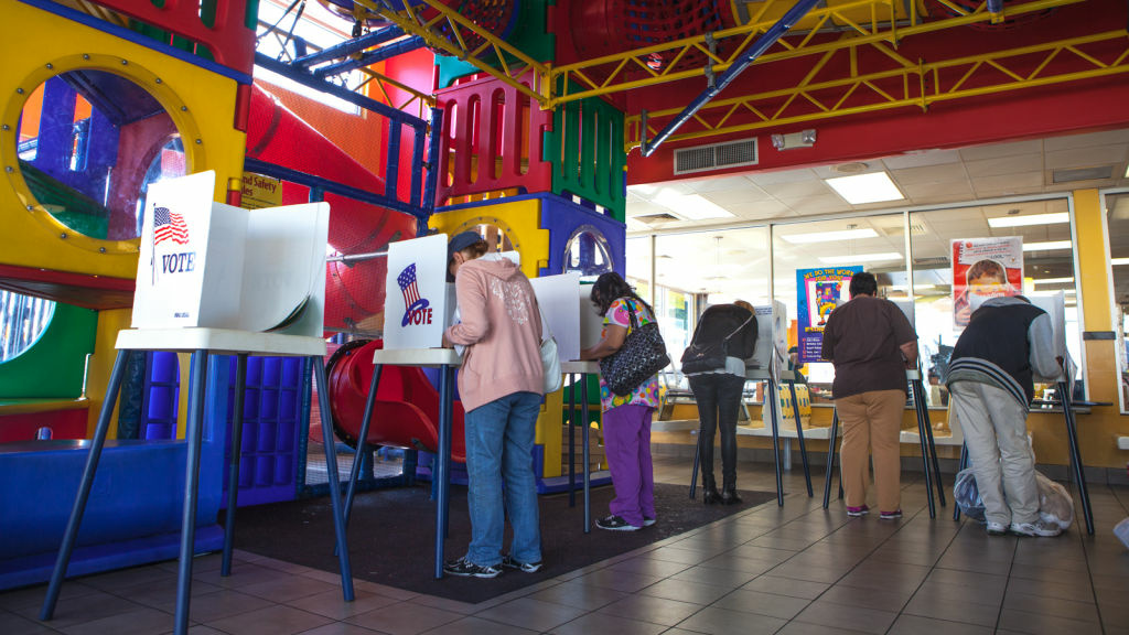 Voters cast their ballots in the McDonald's Playroom in Hollywood on November 6th, 2012.