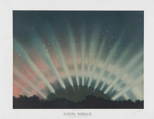 E. L. Trouvelot (1827–1895), Aurora Borealis, 1881, color lithograph