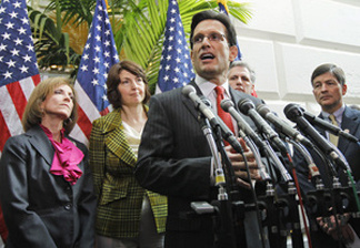 House Majority Leader Eric Cantor (R-Va.) discusses efforts to repeal the health care law Wednesday. The House passed a bill to repeal the law, but Senate Democrats say they will block efforts to take it up.