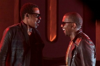 Jay-Z (left) and Kanye West at SXSW in Austin, 2011. The two rappers collaborate on Watch the Throne.