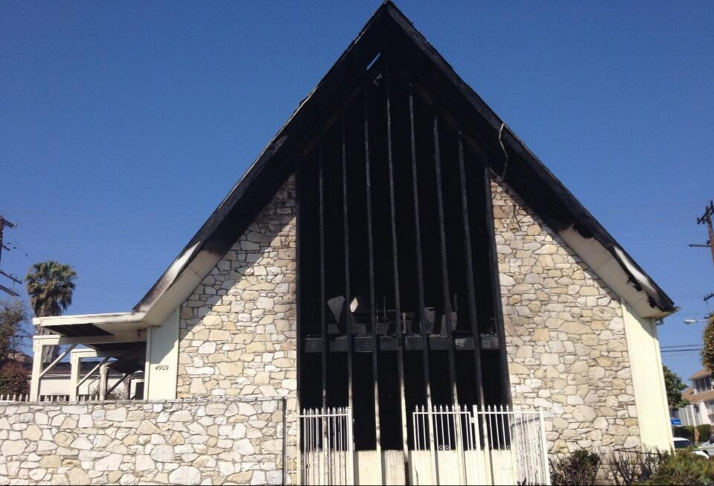 The front of the Bethesda Temple Apostolic church in South Los Angeles after a fire damaged it early Friday morning.