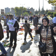 A woman reacts at the site of an explosion in Ankara, Turkey, on Saturday.
