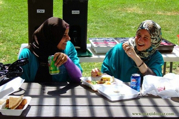 Two women in hijab at a Southern California picnic, June 2008