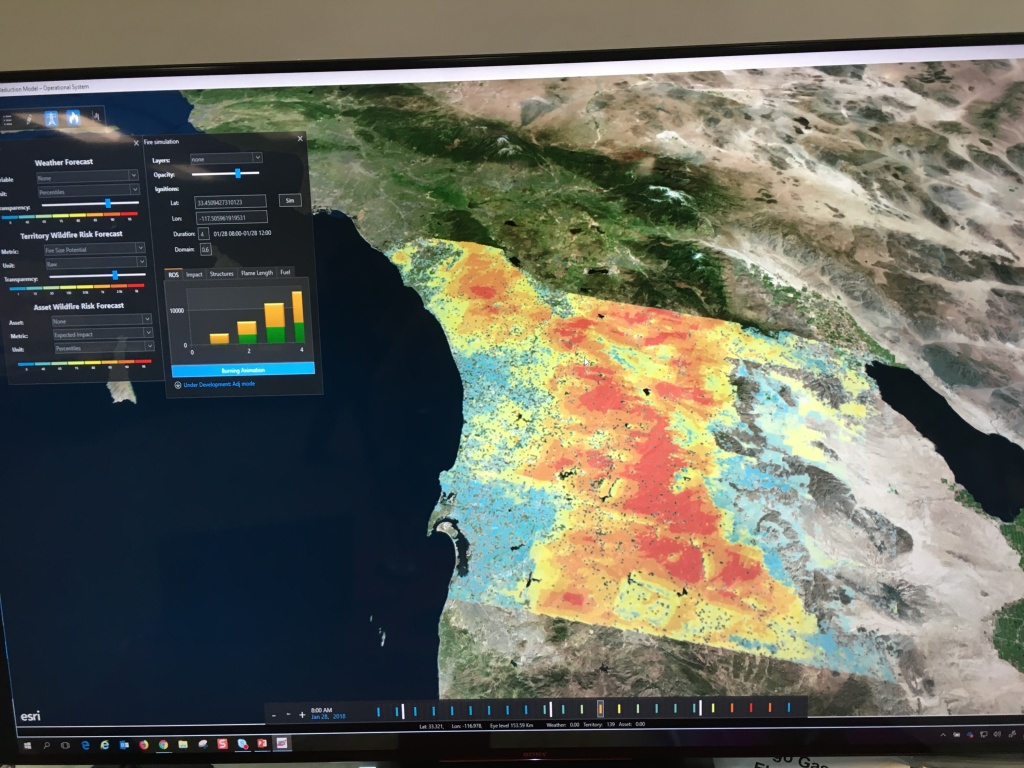 San Diego Gas & Electric showed in-house technology that simulates 10 million wildfires every day based on various data sets. The goal is to be ready in case one happens and threatens electrical installations.