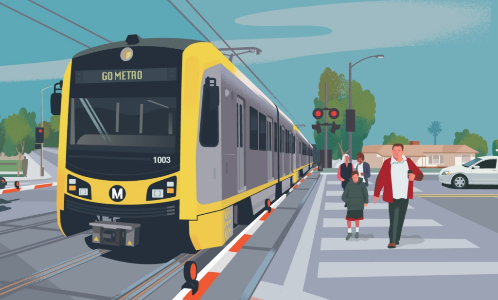A rendering of the future West Santa Ana Branch light rail between Artesia and downtown LA.