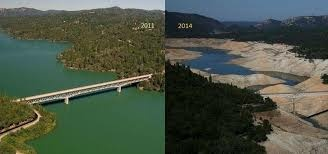 The image shows the drastic changes in river flow during drought years from 2011 to 2014 along the Sacramento River in California, which serves as an example of what most of the natural waterways in California are experiencing.
