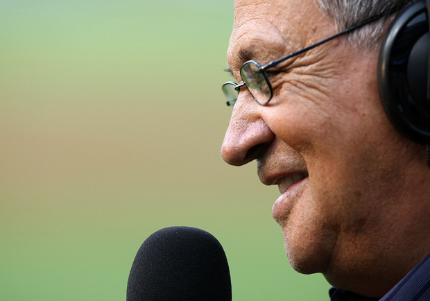 Los Angeles Dodgers Spanish language broadcaster Jaime Jarrin is interviewed before a ceremony honoring his 50 years with the Dodgers before a game against the Chicago White Sox on June 24, 2008 at Dodger Stadium.