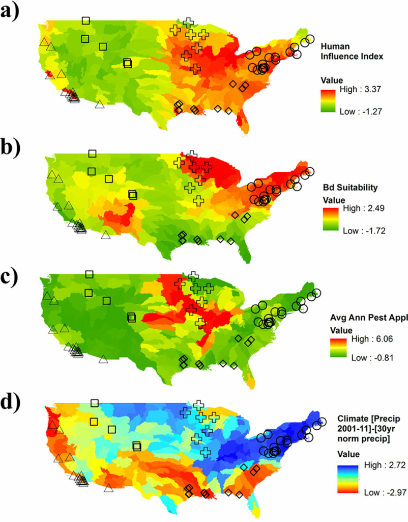 Values are summarized and normalized at the HUC sub-basin scale, using ArcGIS (ver. 10.2. Redlands, CA: Environmental Systems Research Institute). (a) Human influence index. (b) Suitability for Batrachochytrium dendrobatidis. (c) Average annual pesticide application. (a–c) Red indicates higher than average threat intensity while green is lower than average. Locations of amphibian community data indicated with circles; symbols indicate region groupings (see Table 1; circles = Northeast, diamonds = Southeast, plus = Midwest, triangles = West coast, squares = Rocky Mountains). (d) The mean difference in the 30-year normal from the 2001–11 annual average precipitation; blue indicates wetter sub-basins with above average difference in precipitation while red indicates drier sub-basins.