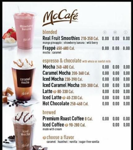 Mcdonalds Drink Calorie Menu