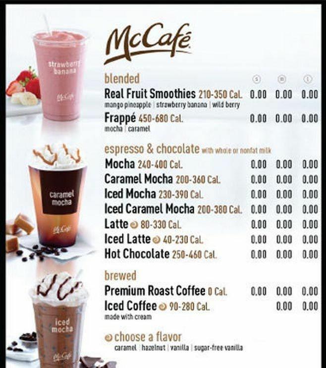 Cafe  Degrees Menu