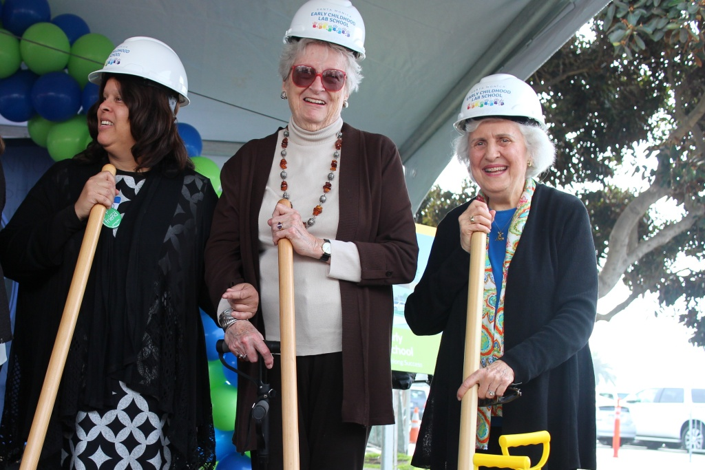 Betsy Hiteshew (center) and Irene Zivi (right), longtime members of the Santa Monica early childhood task force, at the groundbreaking ceremony.