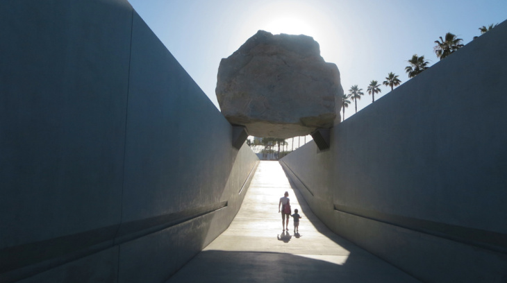 Michael Heizer's finished artwork at the Los Angeles County Museum of Art.