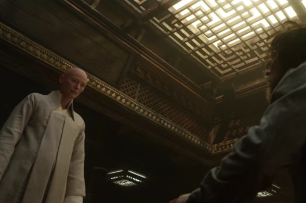 Tilda swinton as the Ancient One and Benedict Cumberbatch as Stephen Strange in a scene from